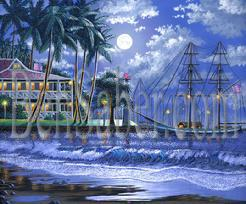 Painting Lahaina Harbor Night. Original acrylic painting on canvas board 11x14 inches. Prints available (see prints information page)