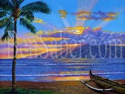 lanai island hawaii lahaina beach sunset picture painting art