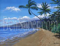 Lahaina harbor beach maui painting picture