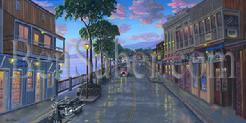 After the Storm Front Street, Lahaina, Maui. Original Acrylic painting on canvas 15x30 inches $2,500 SOLD.