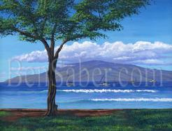 lahaina harbor park lanai island king palace maui painting picture