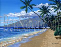 Painting #526 Lahaina Harbor Beach In The Morning, Maui Hawaii. Original acrylic painting on canvas stretched 18x24 inches