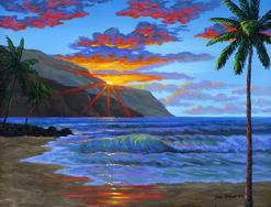 Hawaiian beach sunset painting