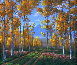 aspen cotton wood fall autumn painting picture