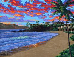 black rock kaanapali beach   painting art print canvas picture sunset