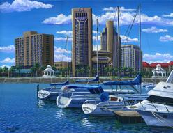 corpus christi marina water front first national bank boat marina sidewalk painting picture