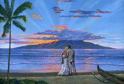 Wedding At Sunset lahaina maui painting picture lanai beach