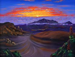 Haleakala Volcano crater sunrise picture painting