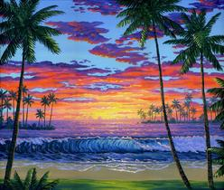 Hwaiian beach sunset painting palm trees ocean sea