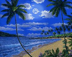 Kapalua bay moon hawaii maui painting picture image art