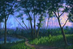 Forest Fog sunset painting art picture image