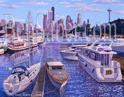 Lake union seattle downtown painting picture gasworks park space needle