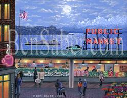pike place market painting seattle ferry alki night olympic mountains