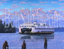 Washington State Ferry Olympic Mountains, Seattle Painting