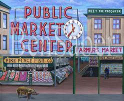 pike place market pig painting sign entrance clock