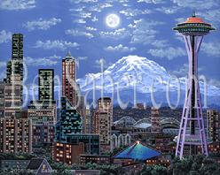 downtown seattle painting space needle mt rainier night moon picture