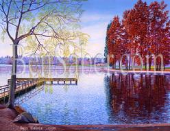 greenlake painting art green lake seattle park fall trail dock