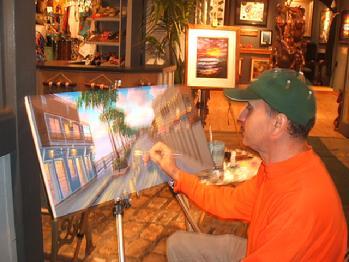 Artist Painting Front Street Lahaina Maui Hawaii Ben saber