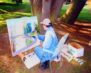 Green Lake Park Artist Seattle painting in 1991 Washington