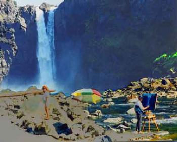Snoqualmie Falls artist painting Washington