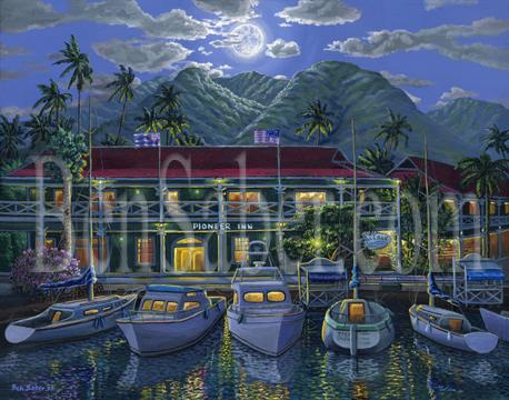 Pioneer inn Lahaina Maui Original painting picture harbor