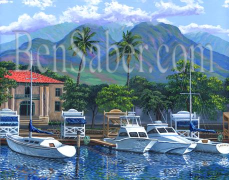 Lahaina old courthouse maui painting harbor west mountains boats