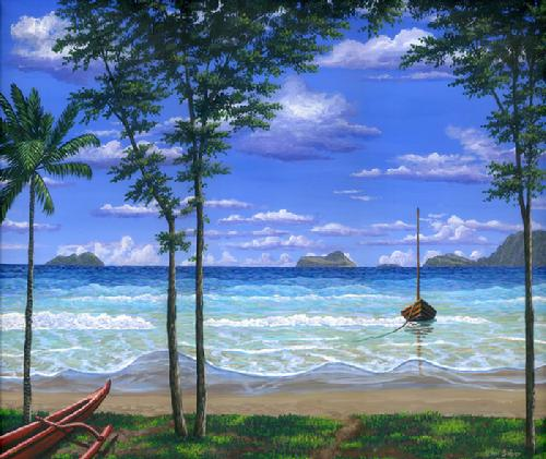 Waimanalo Beach Oahu Hawaii painting picture