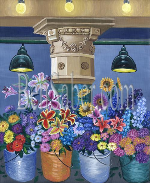 pike place market interior pillar flowers seattle painting