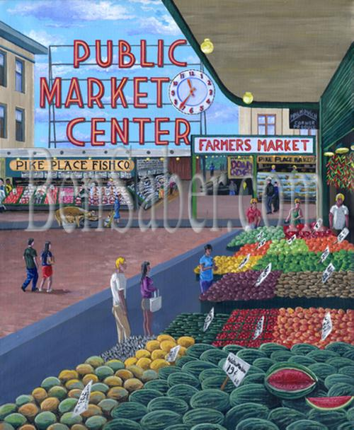 pike place market fruit farmer seattle produce painting picture