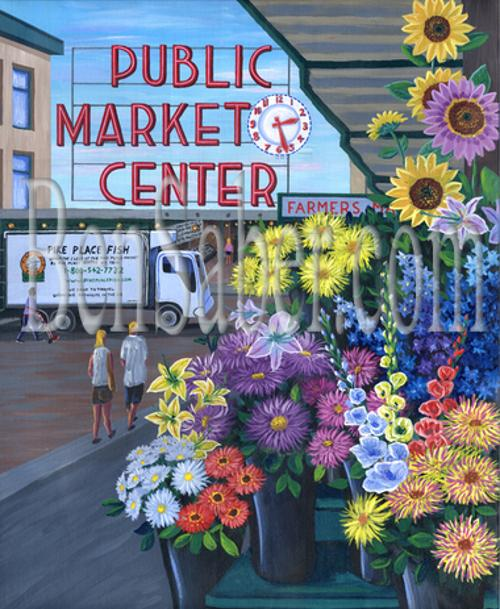 pike place market flowers sign seattle painting picture