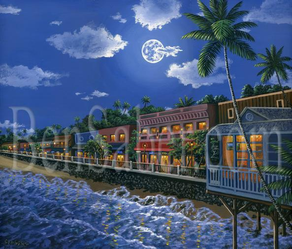 Painting Lahaina town in the moonlight Original acrylic painting on canvas 20x24 inches by Ben Saber Maui Hawaii