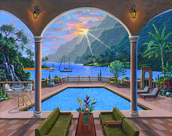 Hawaiian house swimming pool sunset dream ben saber