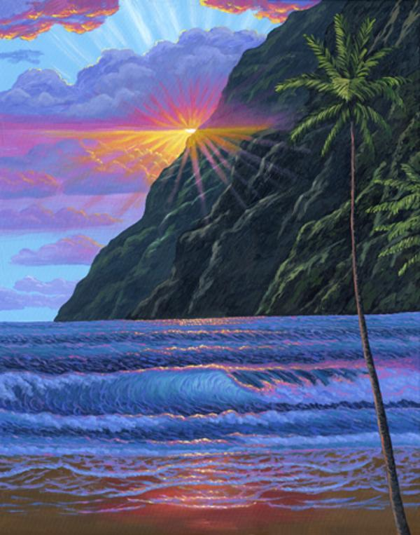 Hawaiian Mountains Beach Sunset painting picture