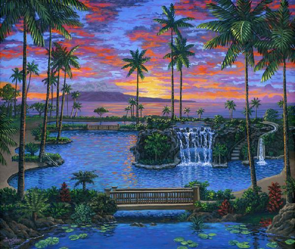 Maui Marriott Pool At Sunset Hawaii