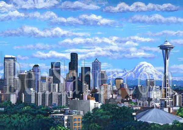 Downtown Seattle Painting Picture Space Needle Mt Rainier