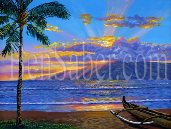 Lanai Island from Lahaina beach at sunset. Original acrylic painting