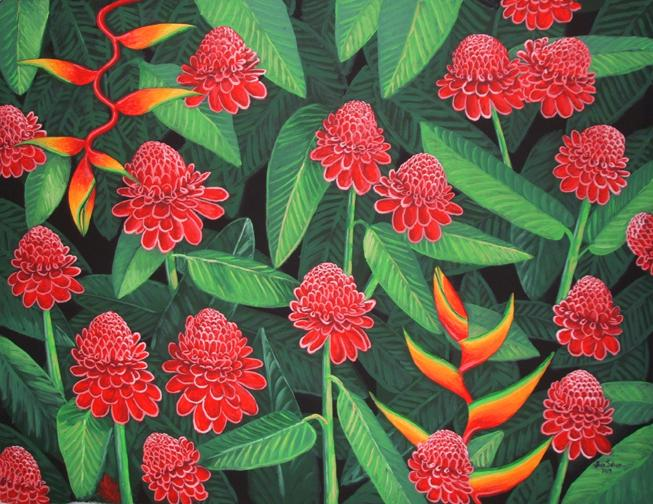 Red Torch Ginger Tropical Flowers painting print canvas art picture