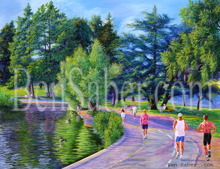 greenlake painting green lake picture seattle park trail path joggers