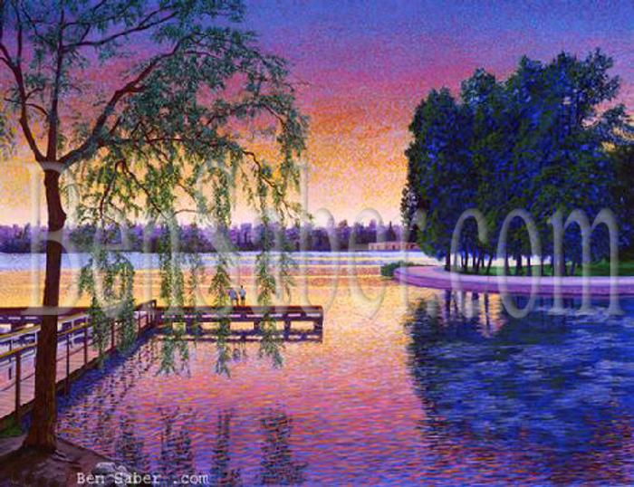 greenlake seattle painting picture print sunset dock trail fish