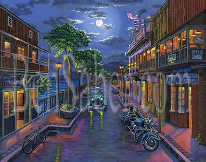 front street lahaina painting moon night harbor shops