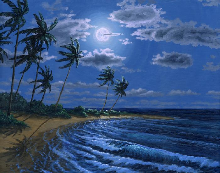 Hawaiian beach in the moonlight painting picture ocean moon night sand palm tree wave