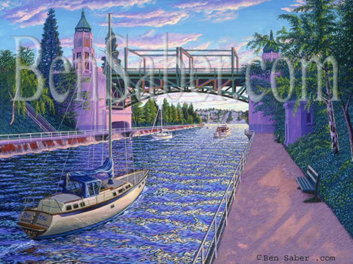 montlake bridge cut canal painting picture