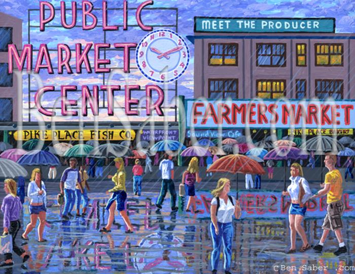 pike place market umbrellas seattle painting rain picture