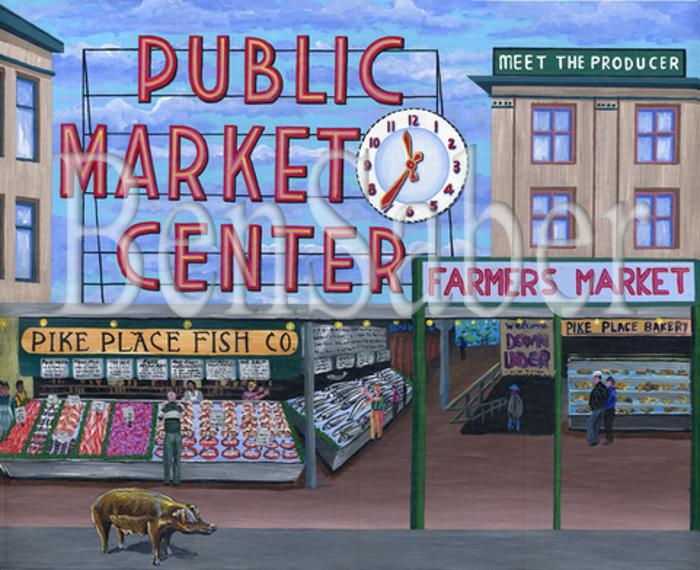 pike place market pig sign seattle painting picture