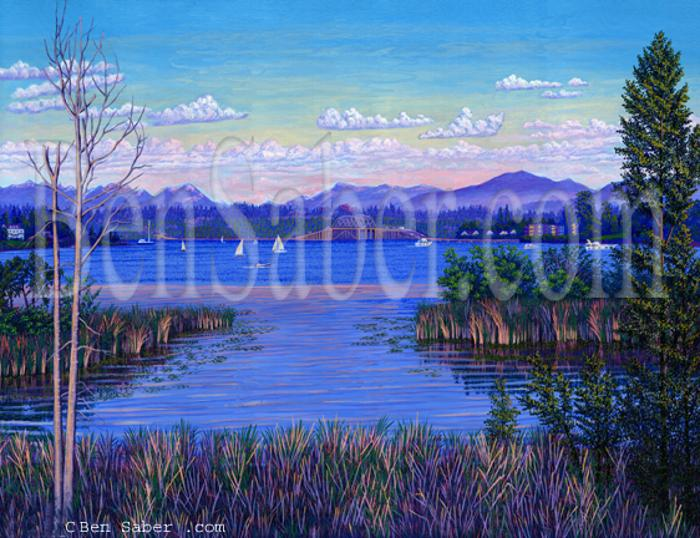 floating bridge lake washington painting picture uw portage bay
