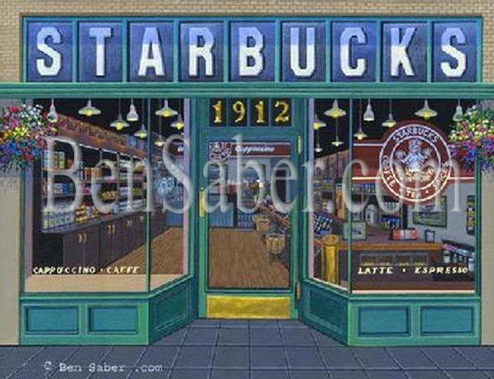 first starbucks store cafe coffee house pike place market seattle painting picture