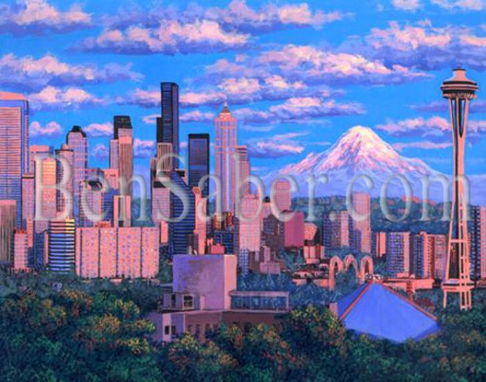 Downtown seattle at sunset painting picture queen ann view