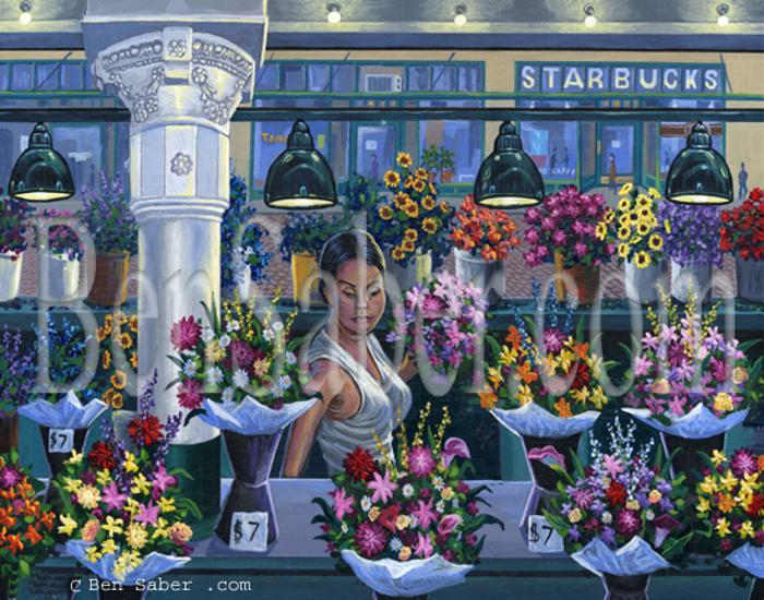 flowers pike place market seattle painting picture