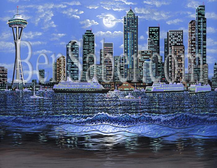 Downtown seattle painting alki beach night picture