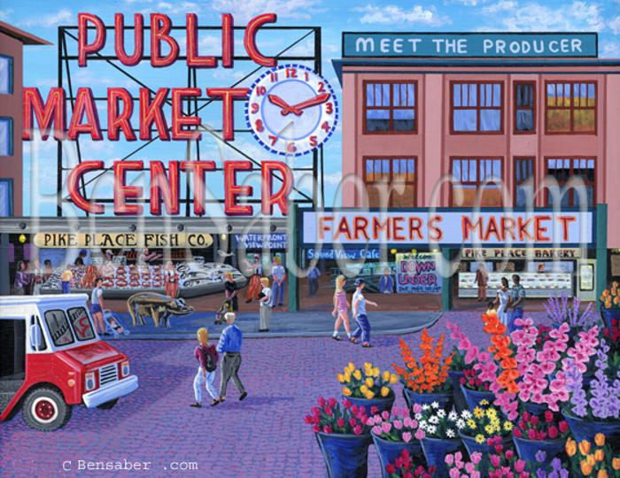 pike place market painting seattle sign clock